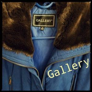 Luxurious Royal Blue Velour Coat w/ Faux Fur Hood